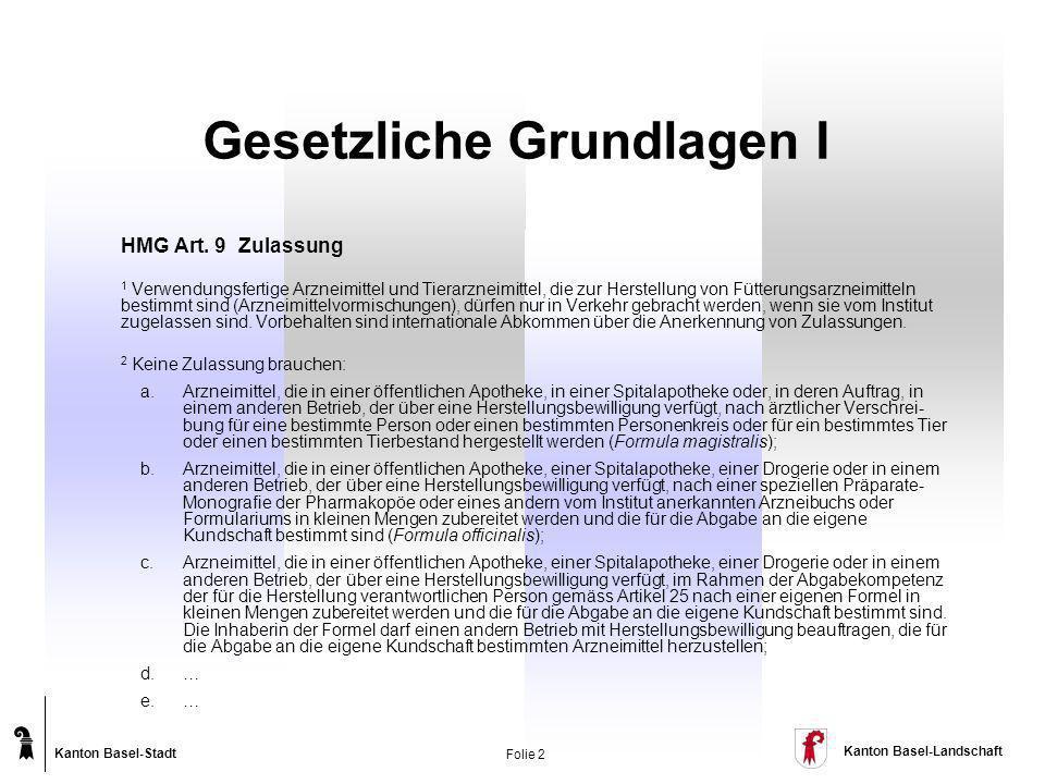 Kanton Basel-Stadt Kanton Basel-Landschaft Folie 2 Gesetzliche Grundlagen I HMG Art. 9 Zulassung 1 Verwendungsfertige Arzneimittel und Tierarzneimitte