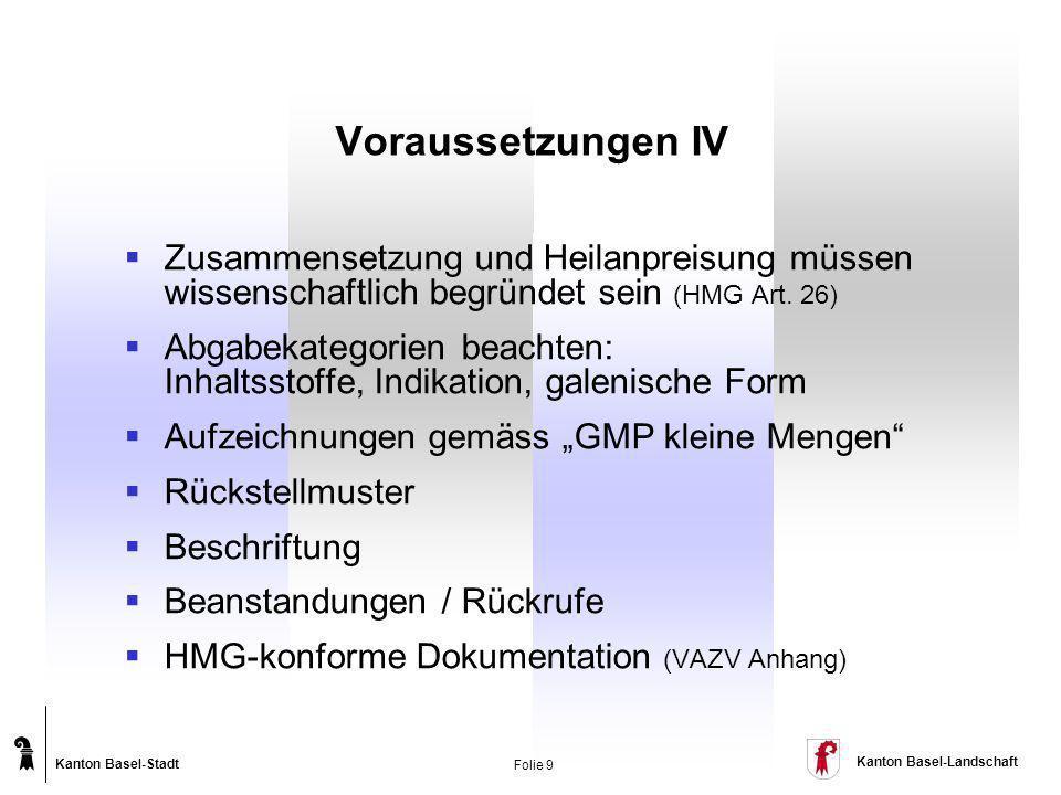 Kanton Basel-Stadt Kanton Basel-Landschaft Folie 9 Voraussetzungen IV Zusammensetzung und Heilanpreisung müssen wissenschaftlich begründet sein (HMG A