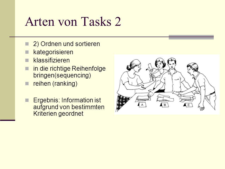 Arten von Tasks 2 2) Ordnen und sortieren kategorisieren klassifizieren in die richtige Reihenfolge bringen(sequencing) reihen (ranking) Ergebnis: Inf