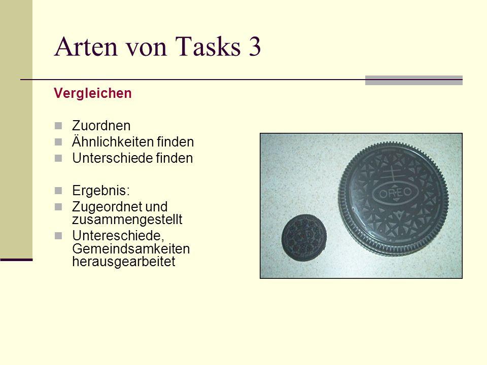 Arten von Tasks 3 Vergleichen Zuordnen Ähnlichkeiten finden Unterschiede finden Ergebnis: Zugeordnet und zusammengestellt Untereschiede, Gemeindsamkei