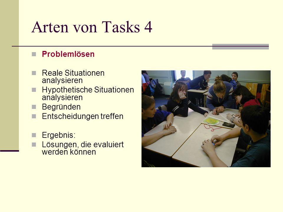 Arten von Tasks 4 Problemlösen Reale Situationen analysieren Hypothetische Situationen analysieren Begründen Entscheidungen treffen Ergebnis: Lösungen