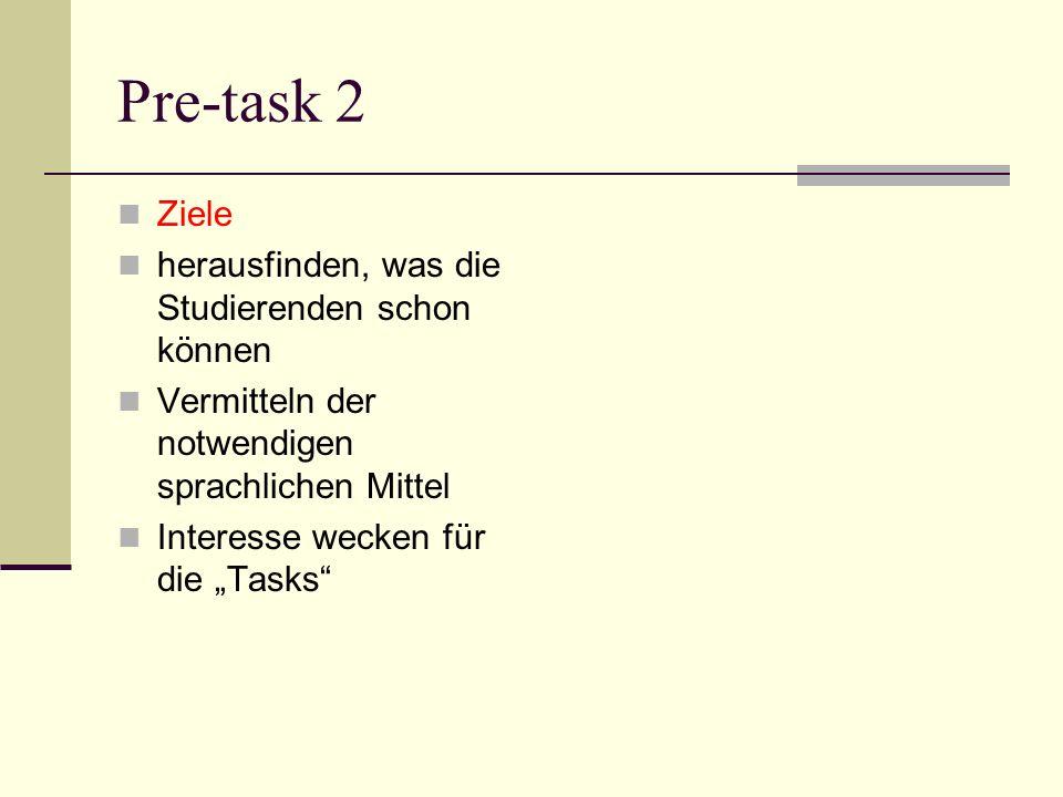 Pre-task 2 Ziele herausfinden, was die Studierenden schon können Vermitteln der notwendigen sprachlichen Mittel Interesse wecken für die Tasks