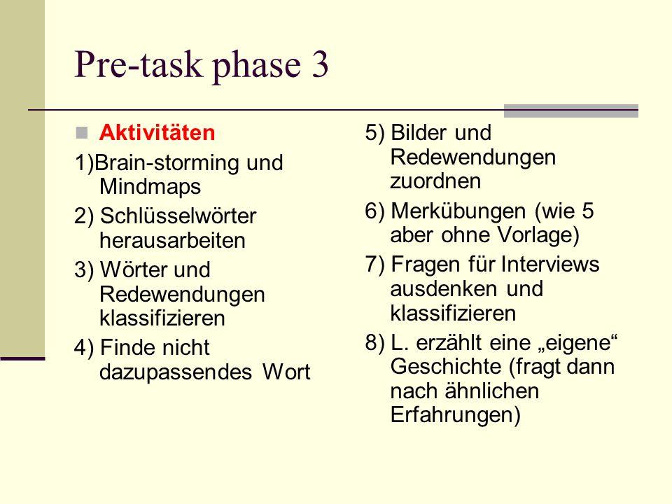 Pre-task phase 3 Aktivitäten 1)Brain-storming und Mindmaps 2) Schlüsselwörter herausarbeiten 3) Wörter und Redewendungen klassifizieren 4) Finde nicht