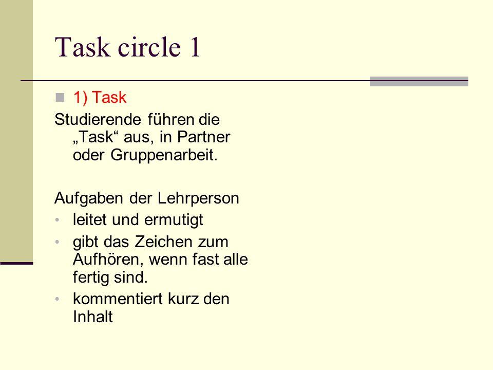 Task circle 1 1) Task Studierende führen die Task aus, in Partner oder Gruppenarbeit. Aufgaben der Lehrperson leitet und ermutigt gibt das Zeichen zum