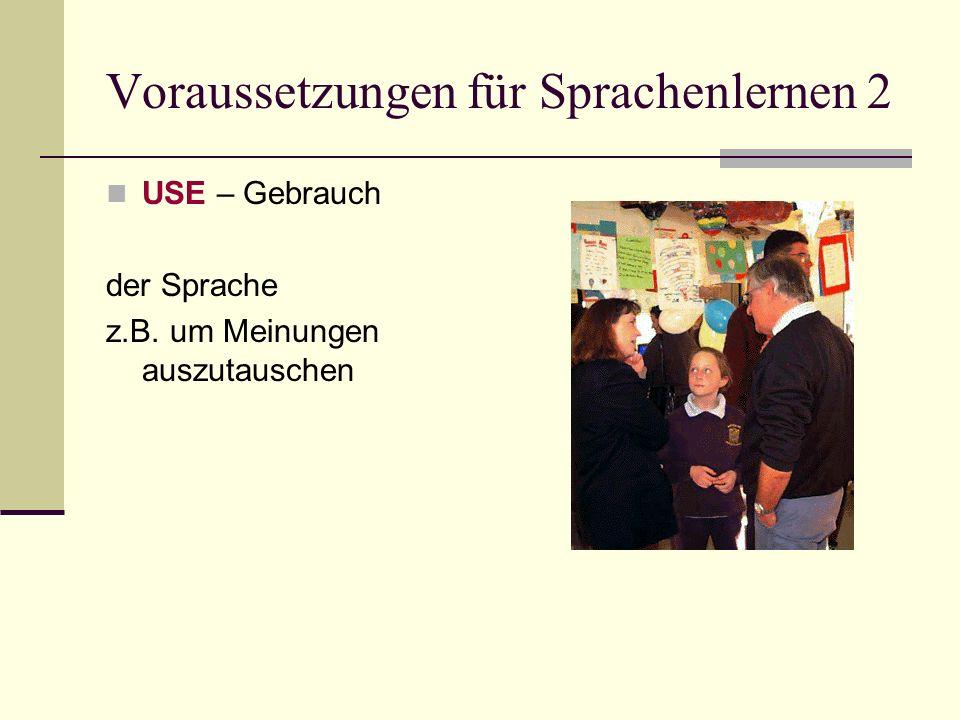 Voraussetzungen für Sprachenlernen 2 USE – Gebrauch der Sprache z.B. um Meinungen auszutauschen