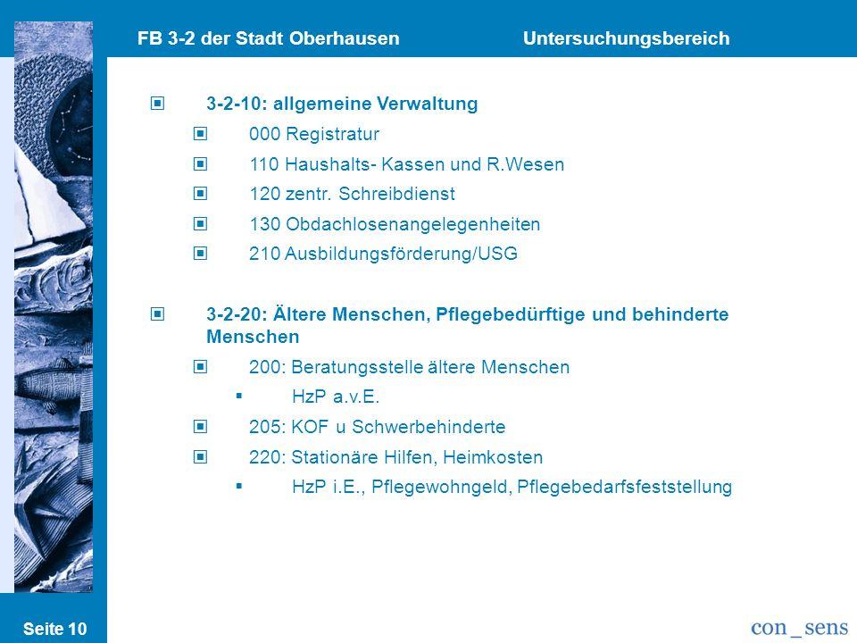 Seite 10 FB 3-2 der Stadt Oberhausen Untersuchungsbereich 3-2-10: allgemeine Verwaltung 000 Registratur 110 Haushalts- Kassen und R.Wesen 120 zentr. S