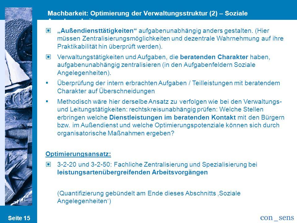Seite 15 Machbarkeit: Optimierung der Verwaltungsstruktur (2) – Soziale Angelegenheiten Außendiensttätigkeiten aufgabenunabhängig anders gestalten. (H
