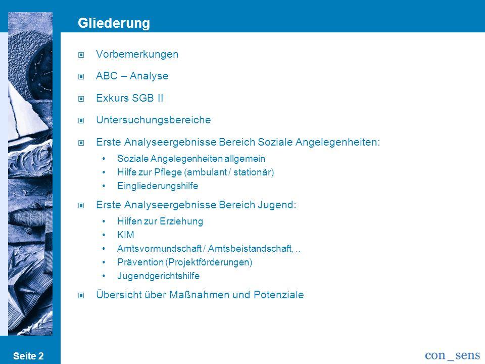 Gliederung Vorbemerkungen ABC – Analyse Exkurs SGB II Untersuchungsbereiche Erste Analyseergebnisse Bereich Soziale Angelegenheiten: Soziale Angelegen