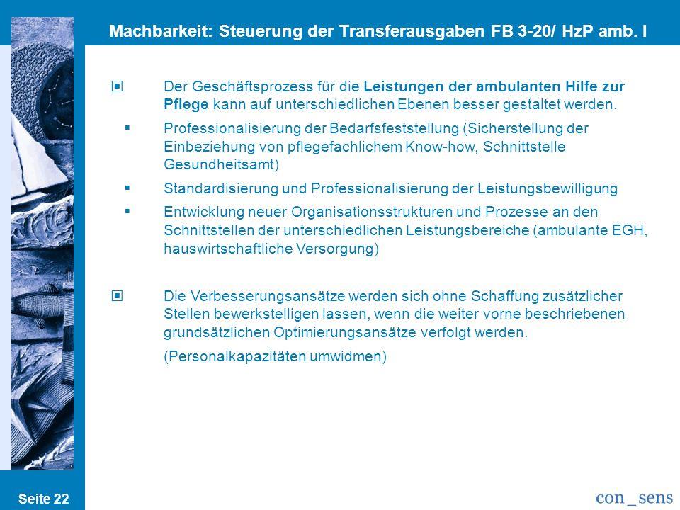 Seite 22 Machbarkeit: Steuerung der Transferausgaben FB 3-20/ HzP amb. I Der Geschäftsprozess für die Leistungen der ambulanten Hilfe zur Pflege kann