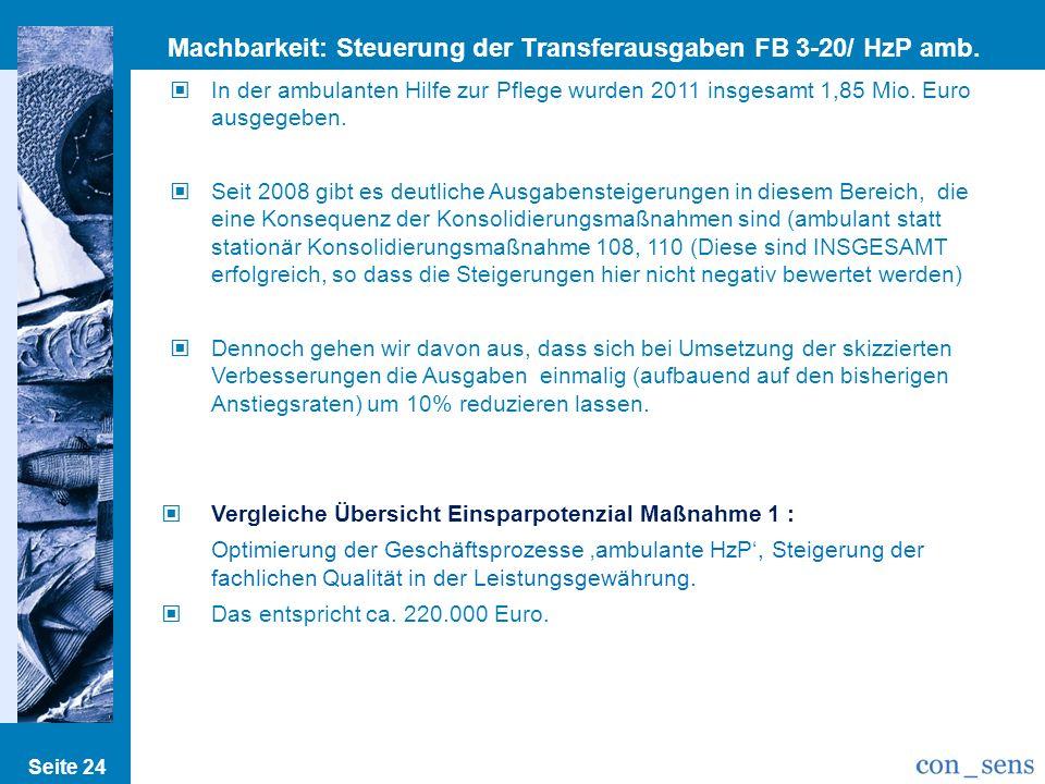 Seite 24 Machbarkeit: Steuerung der Transferausgaben FB 3-20/ HzP amb. III In der ambulanten Hilfe zur Pflege wurden 2011 insgesamt 1,85 Mio. Euro aus