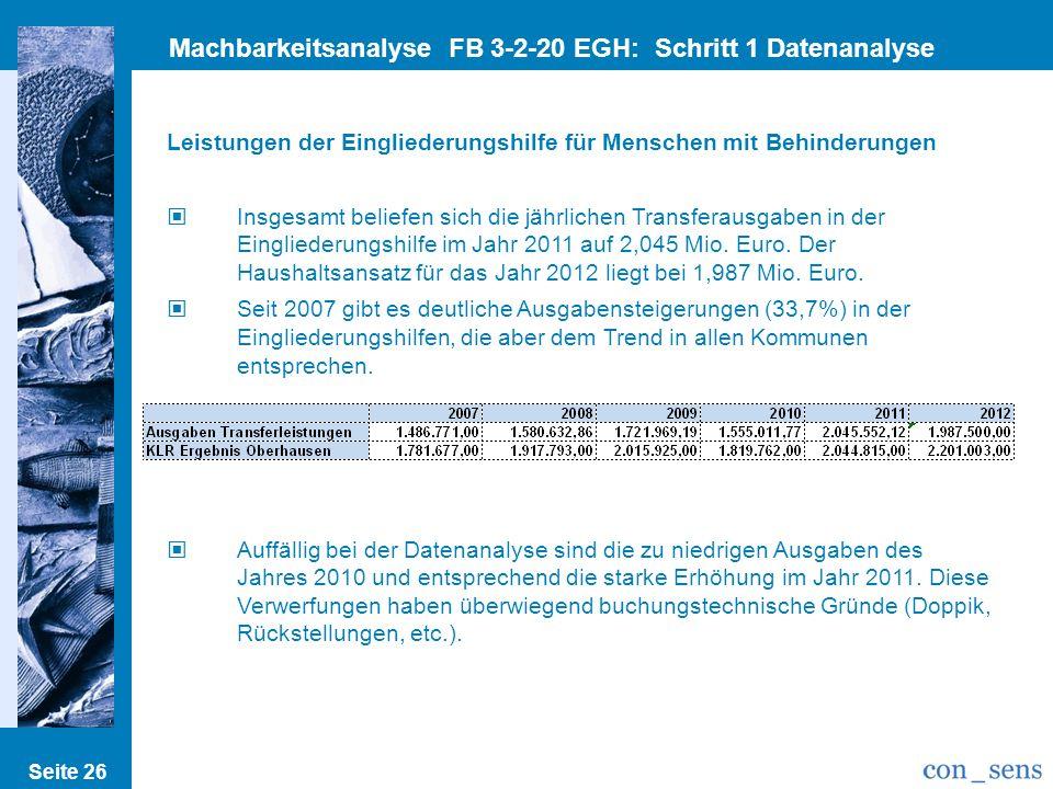 Seite 26 Machbarkeitsanalyse FB 3-2-20 EGH: Schritt 1 Datenanalyse Leistungen der Eingliederungshilfe für Menschen mit Behinderungen Insgesamt beliefe
