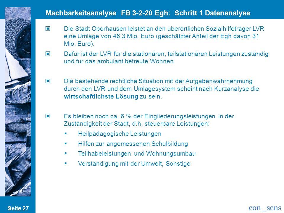 Seite 27 Machbarkeitsanalyse FB 3-2-20 Egh: Schritt 1 Datenanalyse Die Stadt Oberhausen leistet an den überörtlichen Sozialhilfeträger LVR eine Umlage