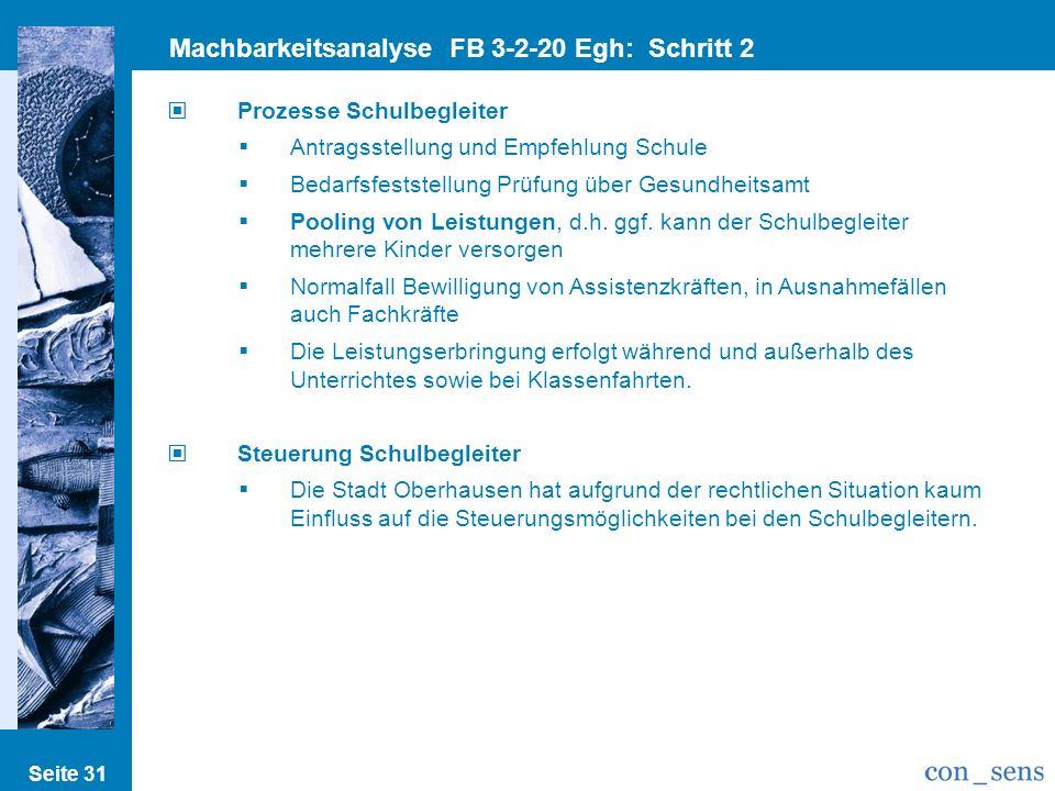 Seite 31 Machbarkeitsanalyse FB 3-2-20 Egh: Schritt 2 Prozesse/Strukturen Prozesse Schulbegleiter Antragsstellung und Empfehlung Schule Bedarfsfestste
