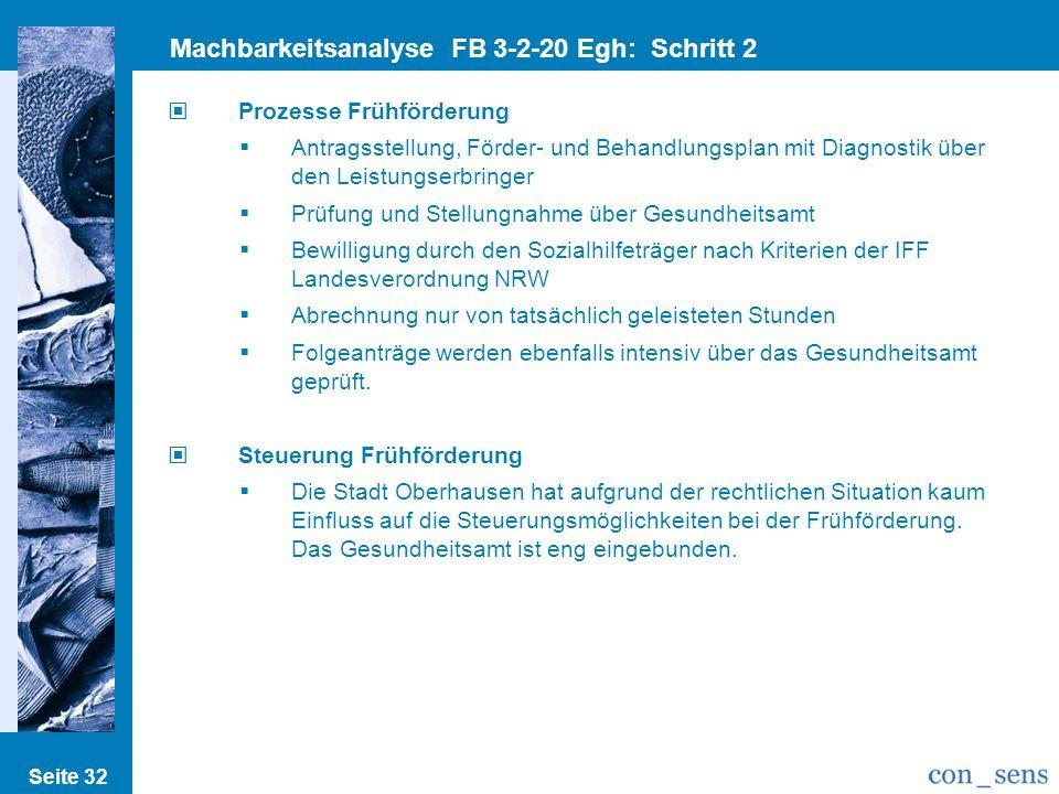 Seite 32 Machbarkeitsanalyse FB 3-2-20 Egh: Schritt 2 Prozesse/Strukturen Prozesse Frühförderung Antragsstellung, Förder- und Behandlungsplan mit Diag