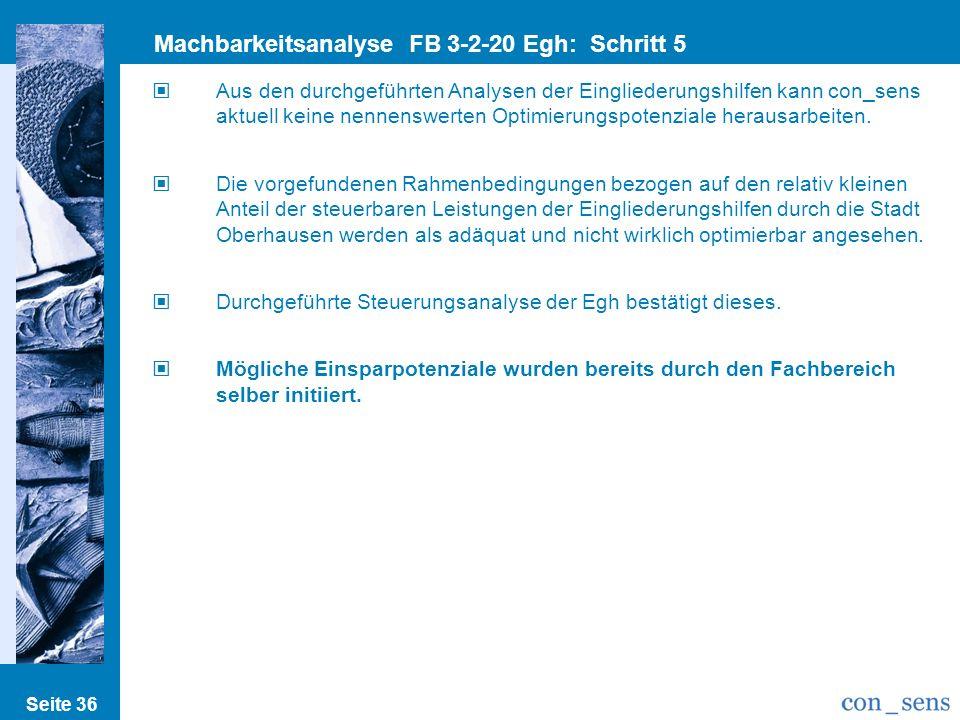 Seite 36 Machbarkeitsanalyse FB 3-2-20 Egh: Schritt 5 Einspar/Optimierungsp. Aus den durchgeführten Analysen der Eingliederungshilfen kann con_sens ak