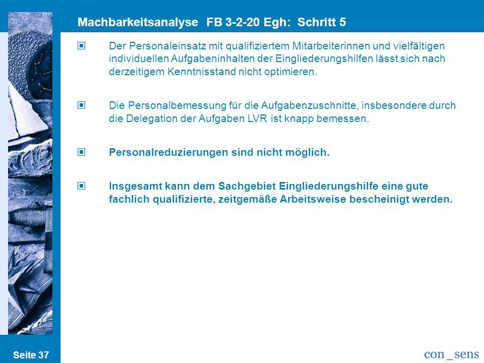 Seite 37 Machbarkeitsanalyse FB 3-2-20 Egh: Schritt 5 Einspar/Optimierungsp. Der Personaleinsatz mit qualifiziertem Mitarbeiterinnen und vielfältigen