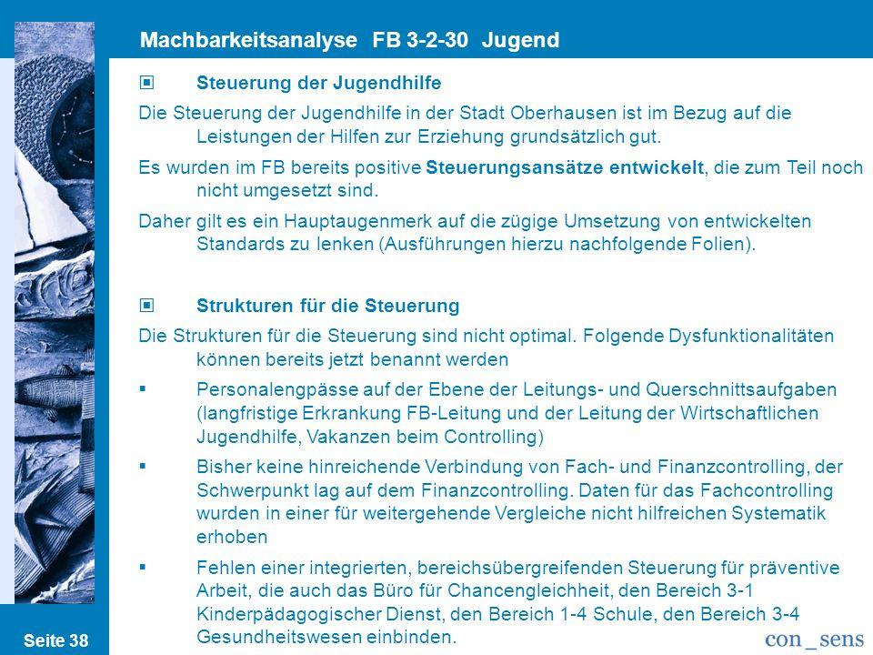 Seite 38 Machbarkeitsanalyse FB 3-2-30 Jugend Steuerung der Jugendhilfe Die Steuerung der Jugendhilfe in der Stadt Oberhausen ist im Bezug auf die Lei