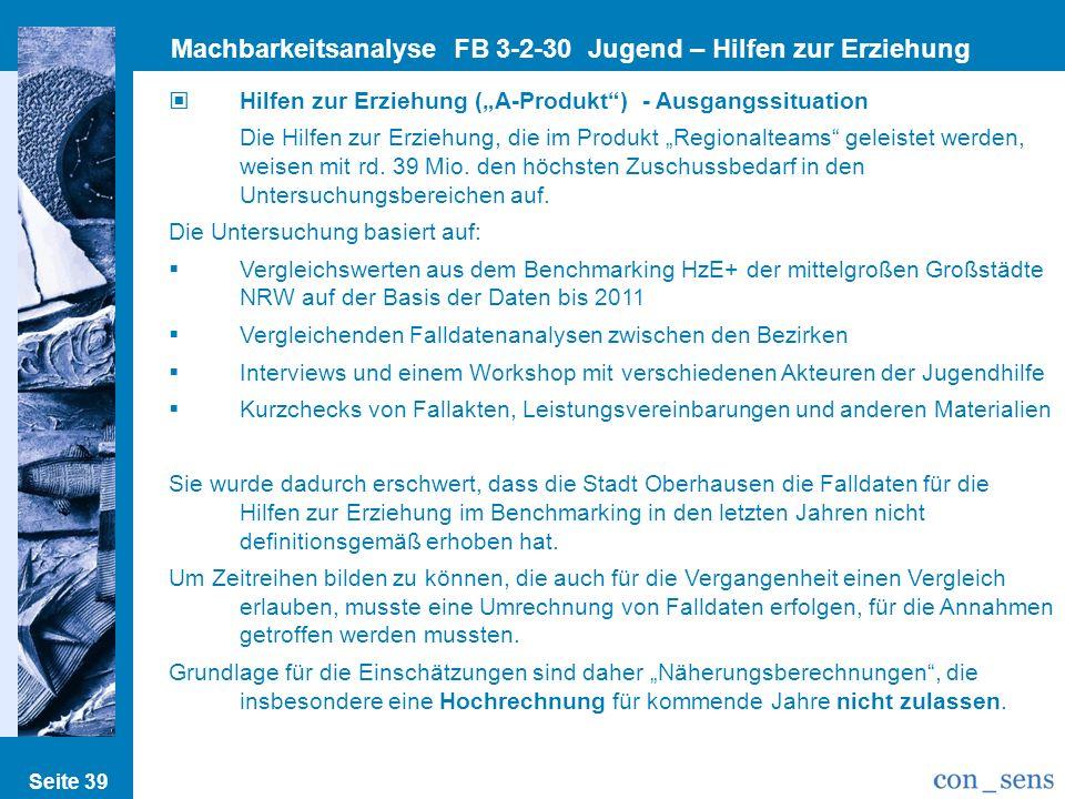 Seite 39 Machbarkeitsanalyse FB 3-2-30 Jugend – Hilfen zur Erziehung Hilfen zur Erziehung (A-Produkt) - Ausgangssituation Die Hilfen zur Erziehung, di