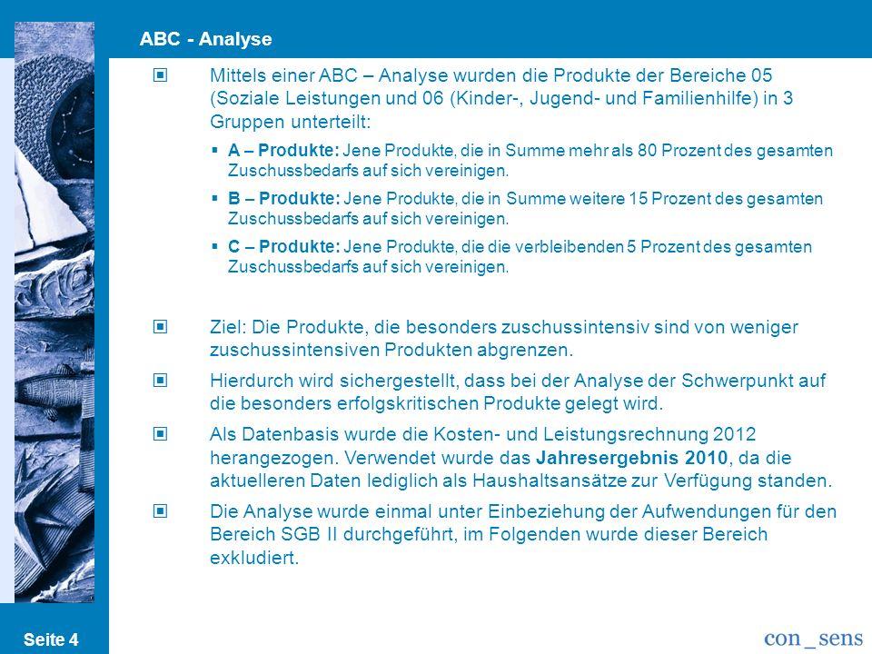 Seite 4 ABC - Analyse Mittels einer ABC – Analyse wurden die Produkte der Bereiche 05 (Soziale Leistungen und 06 (Kinder-, Jugend- und Familienhilfe)