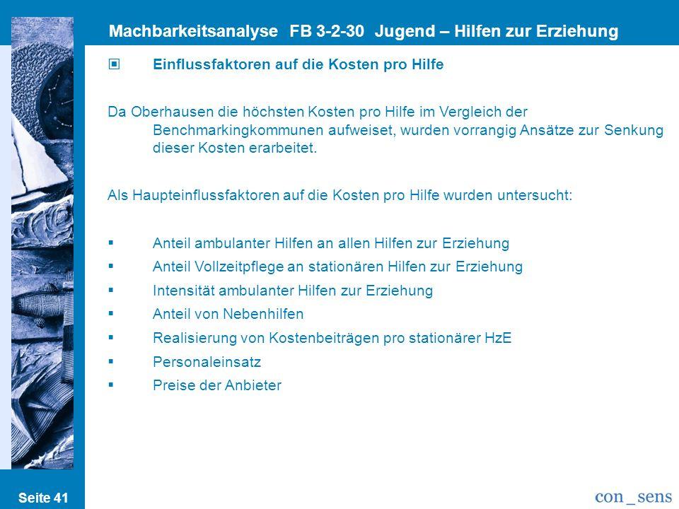 Seite 41 Machbarkeitsanalyse FB 3-2-30 Jugend – Hilfen zur Erziehung Einflussfaktoren auf die Kosten pro Hilfe Da Oberhausen die höchsten Kosten pro H