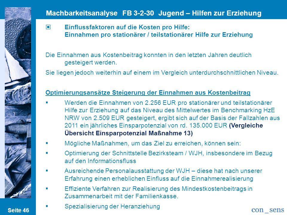 Seite 46 Machbarkeitsanalyse FB 3-2-30 Jugend – Hilfen zur Erziehung Einflussfaktoren auf die Kosten pro Hilfe: Einnahmen pro stationärer / teilstatio