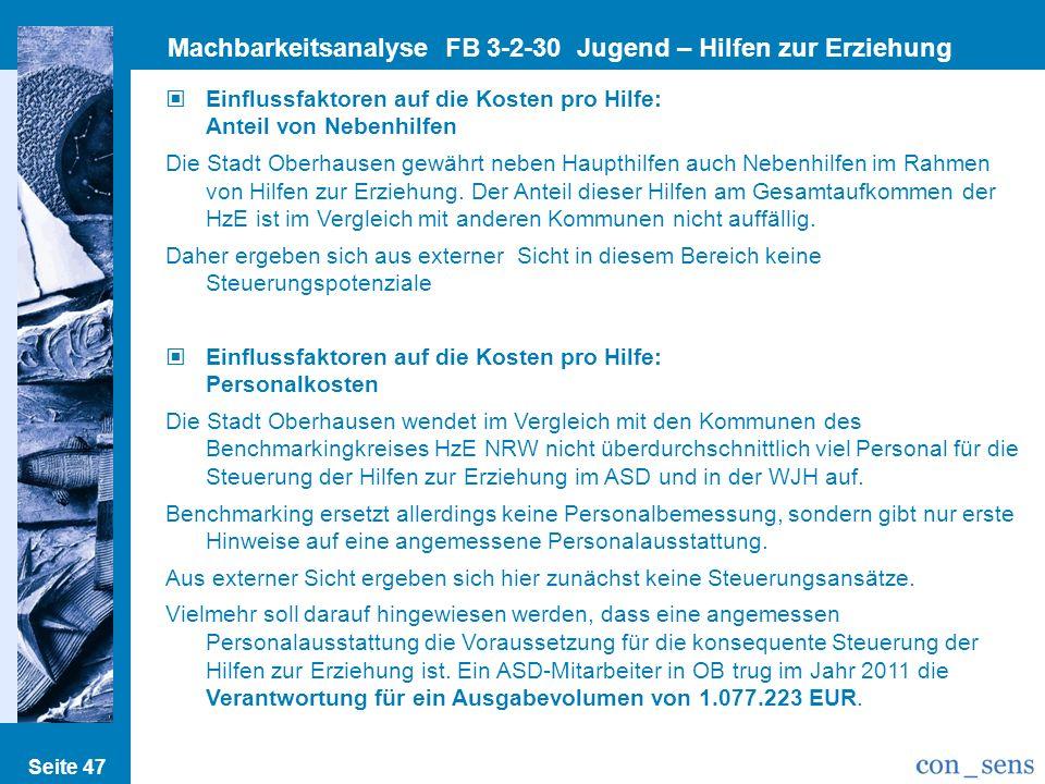 Seite 47 Machbarkeitsanalyse FB 3-2-30 Jugend – Hilfen zur Erziehung Einflussfaktoren auf die Kosten pro Hilfe: Anteil von Nebenhilfen Die Stadt Oberh