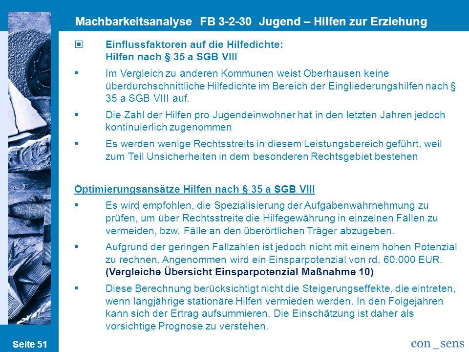 Seite 51 Machbarkeitsanalyse FB 3-2-30 Jugend – Hilfen zur Erziehung Einflussfaktoren auf die Hilfedichte: Hilfen nach § 35 a SGB VIII Im Vergleich zu