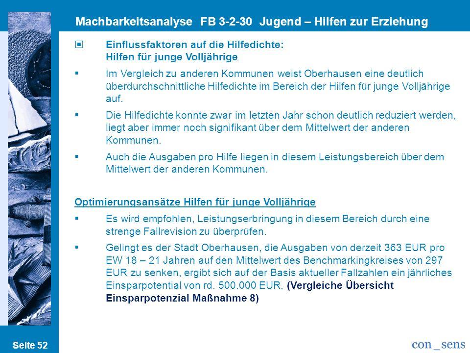 Seite 52 Machbarkeitsanalyse FB 3-2-30 Jugend – Hilfen zur Erziehung Einflussfaktoren auf die Hilfedichte: Hilfen für junge Volljährige Im Vergleich z
