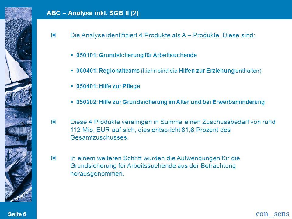 Seite 6 ABC – Analyse inkl. SGB II (2) Die Analyse identifiziert 4 Produkte als A – Produkte. Diese sind: 050101: Grundsicherung für Arbeitsuchende 06
