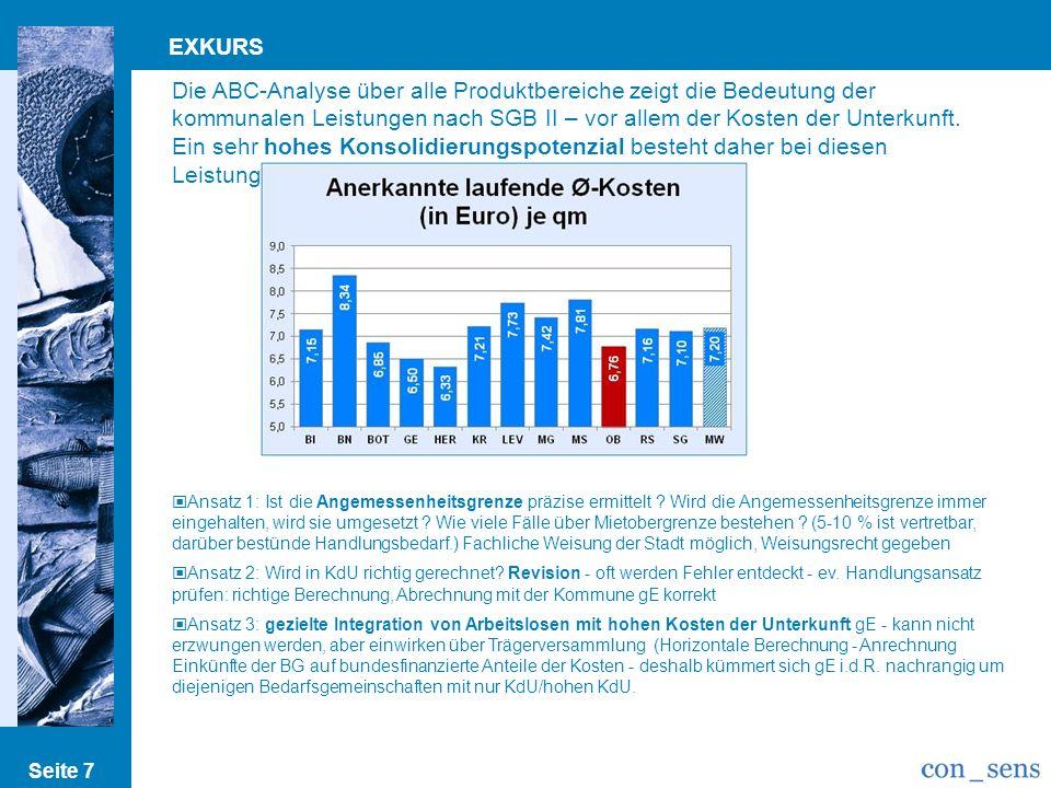 Seite 7 EXKURS Die ABC-Analyse über alle Produktbereiche zeigt die Bedeutung der kommunalen Leistungen nach SGB II – vor allem der Kosten der Unterkun