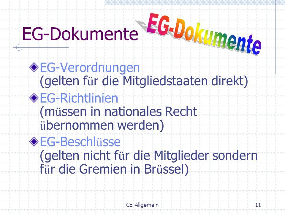 CE-Allgemein11 EG-Dokumente EG-Verordnungen (gelten f ü r die Mitgliedstaaten direkt) EG-Richtlinien (m ü ssen in nationales Recht ü bernommen werden)