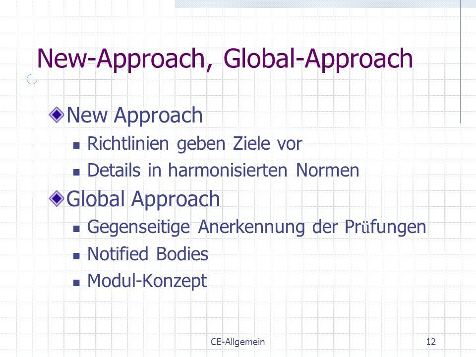 CE-Allgemein12 New-Approach, Global-Approach New Approach Richtlinien geben Ziele vor Details in harmonisierten Normen Global Approach Gegenseitige An