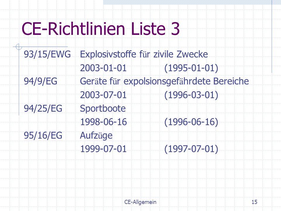 CE-Allgemein15 CE-Richtlinien Liste 3 93/15/EWGExplosivstoffe f ü r zivile Zwecke 2003-01-01(1995-01-01) 94/9/EGGer ä te f ü r expolsionsgef ä hrdete