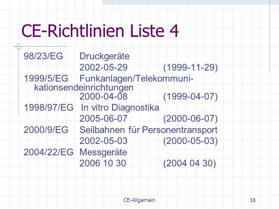 CE-Allgemein16 CE-Richtlinien Liste 4 98/23/EGDruckgeräte 2002-05-29(1999-11-29) 1999/5/EGFunkanlagen/Telekommuni- kationsendeinrichtungen 2000-04-08(