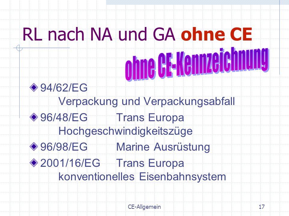 CE-Allgemein17 RL nach NA und GA ohne CE 94/62/EG Verpackung und Verpackungsabfall 96/48/EGTrans Europa Hochgeschwindigkeitszüge 96/98/EGMarine Ausrüs