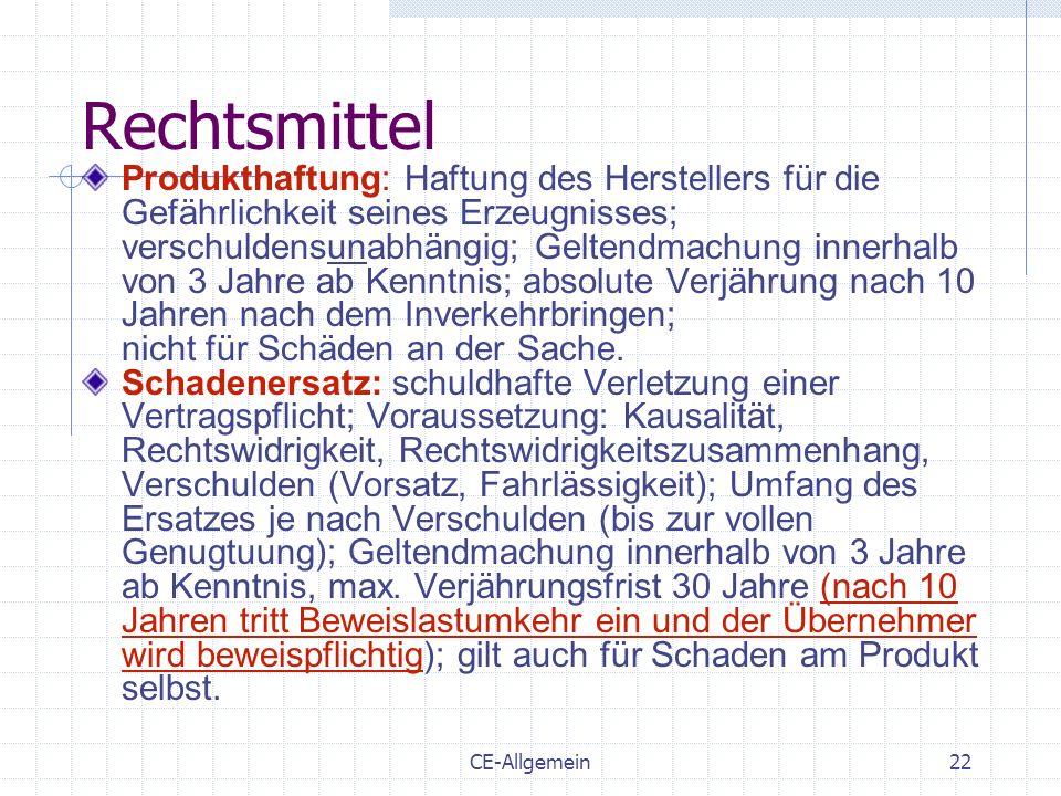 CE-Allgemein22 Rechtsmittel Produkthaftung: Haftung des Herstellers für die Gefährlichkeit seines Erzeugnisses; verschuldensunabhängig; Geltendmachung