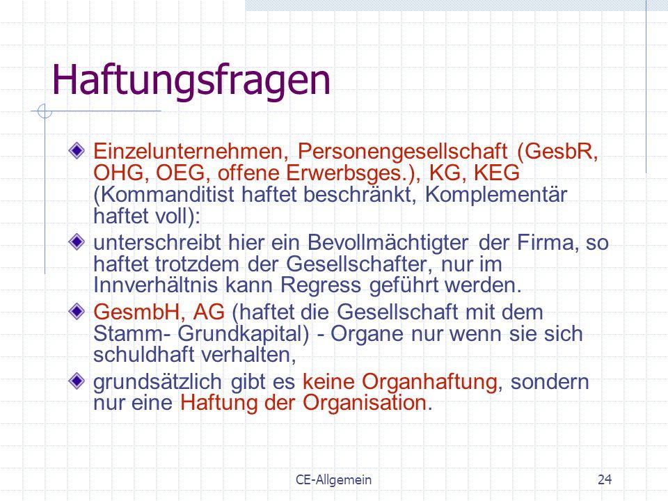 CE-Allgemein24 Haftungsfragen Einzelunternehmen, Personengesellschaft (GesbR, OHG, OEG, offene Erwerbsges.), KG, KEG (Kommanditist haftet beschränkt,