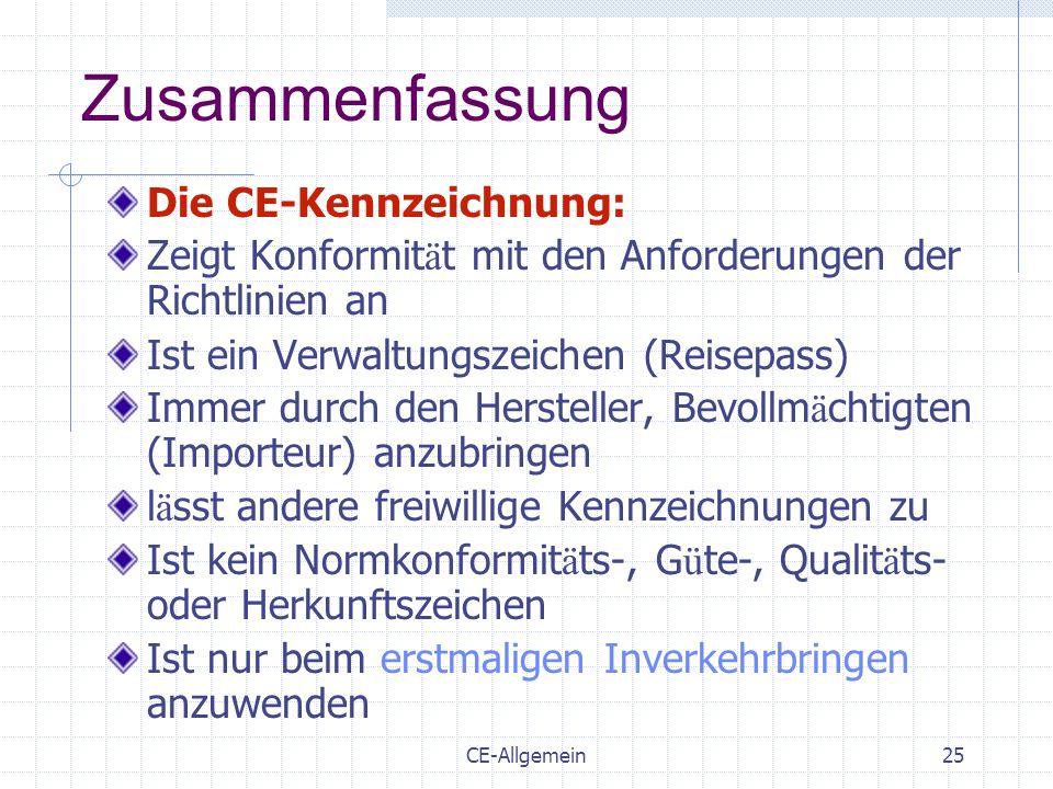 CE-Allgemein25 Zusammenfassung Die CE-Kennzeichnung: Zeigt Konformit ä t mit den Anforderungen der Richtlinien an Ist ein Verwaltungszeichen (Reisepas
