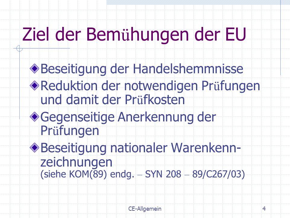 CE-Allgemein4 Ziel der Bem ü hungen der EU Beseitigung der Handelshemmnisse Reduktion der notwendigen Pr ü fungen und damit der Pr ü fkosten Gegenseit