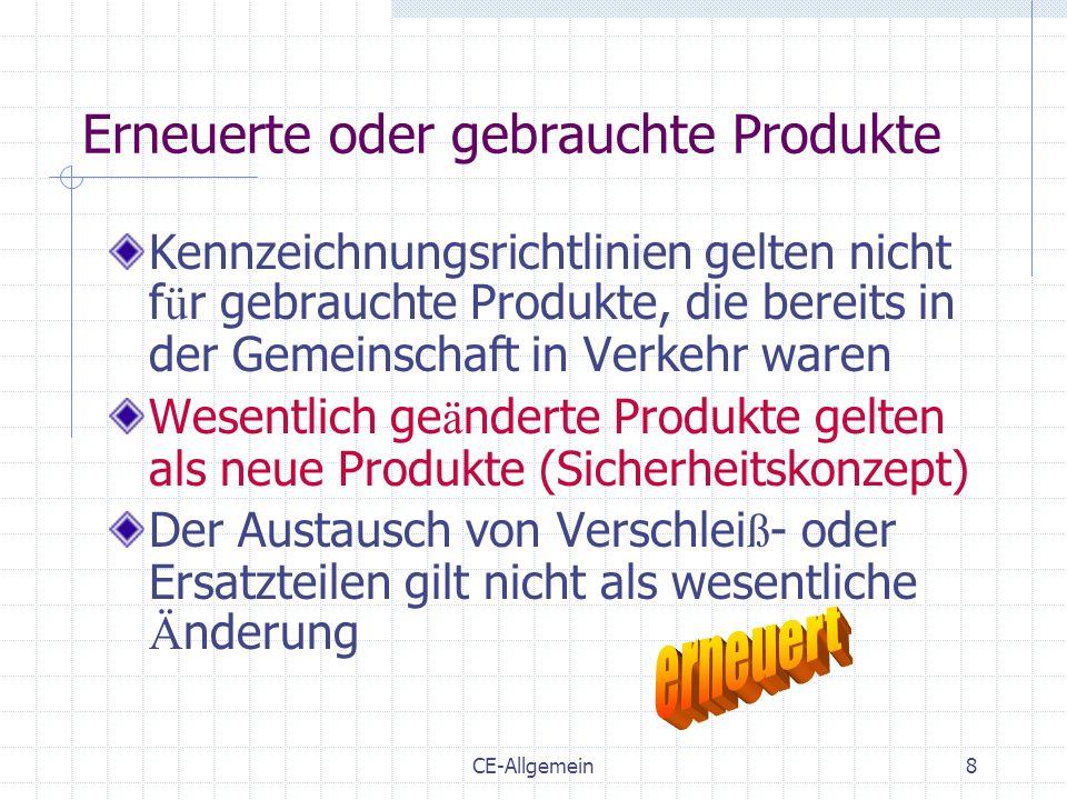 CE-Allgemein8 Erneuerte oder gebrauchte Produkte Kennzeichnungsrichtlinien gelten nicht f ü r gebrauchte Produkte, die bereits in der Gemeinschaft in