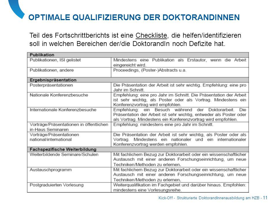 Kick-Off - Strukturierte DoktorandInnenausbildung am HZB - 11 Teil des Fortschrittberichts ist eine Checkliste, die helfen/identifizieren soll in welc