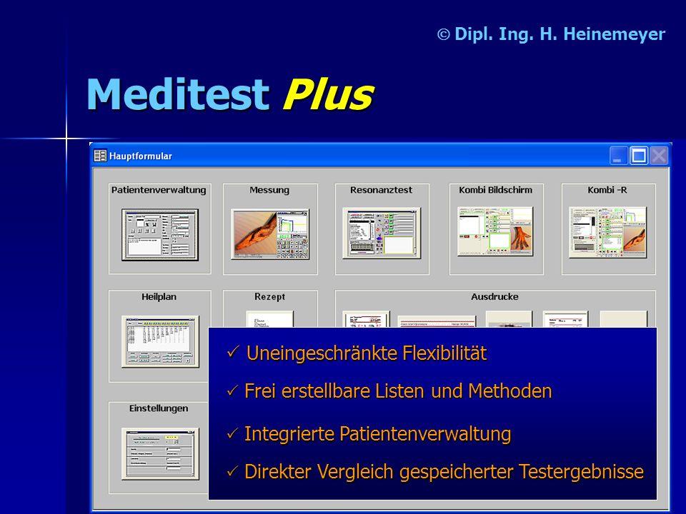 MeditestPlus Dipl. Ing. H. Heinemeyer Uneingeschränkte Flexibilität I II Integrierte Patientenverwaltung D DD Direkter Vergleich gespeicherter Testerg