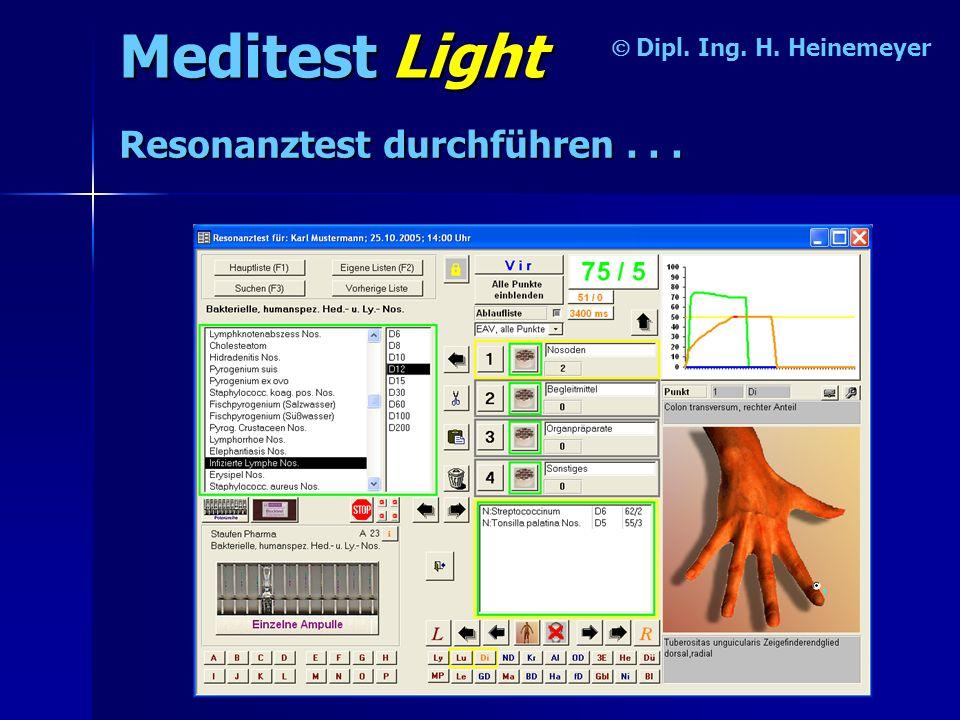 Meditest Light Dipl.Ing. H. Heinemeyer Resonanztest durchführen...