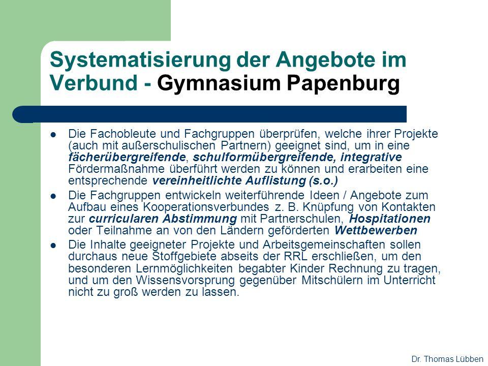 Systematisierung der Angebote im Verbund - Gymnasium Papenburg Die Fachobleute und Fachgruppen überprüfen, welche ihrer Projekte (auch mit außerschuli