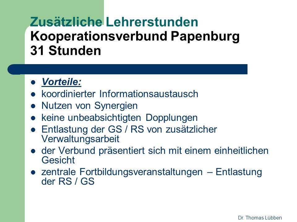 Zusätzliche Lehrerstunden Kooperationsverbund Papenburg 31 Stunden Vorteile: koordinierter Informationsaustausch Nutzen von Synergien keine unbeabsich