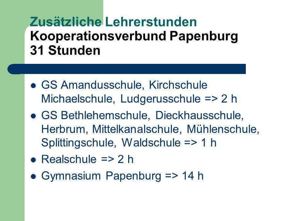 Zusätzliche Lehrerstunden Kooperationsverbund Papenburg 31 Stunden GS Amandusschule, Kirchschule Michaelschule, Ludgerusschule => 2 h GS Bethlehemschu