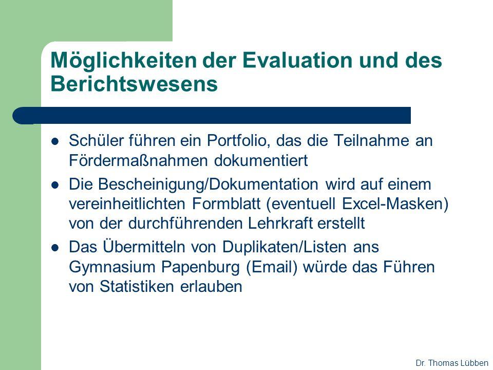Möglichkeiten der Evaluation und des Berichtswesens Schüler führen ein Portfolio, das die Teilnahme an Fördermaßnahmen dokumentiert Die Bescheinigung/