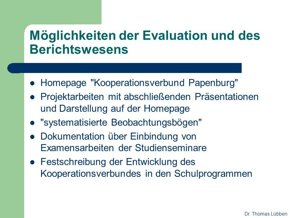 Möglichkeiten der Evaluation und des Berichtswesens Homepage