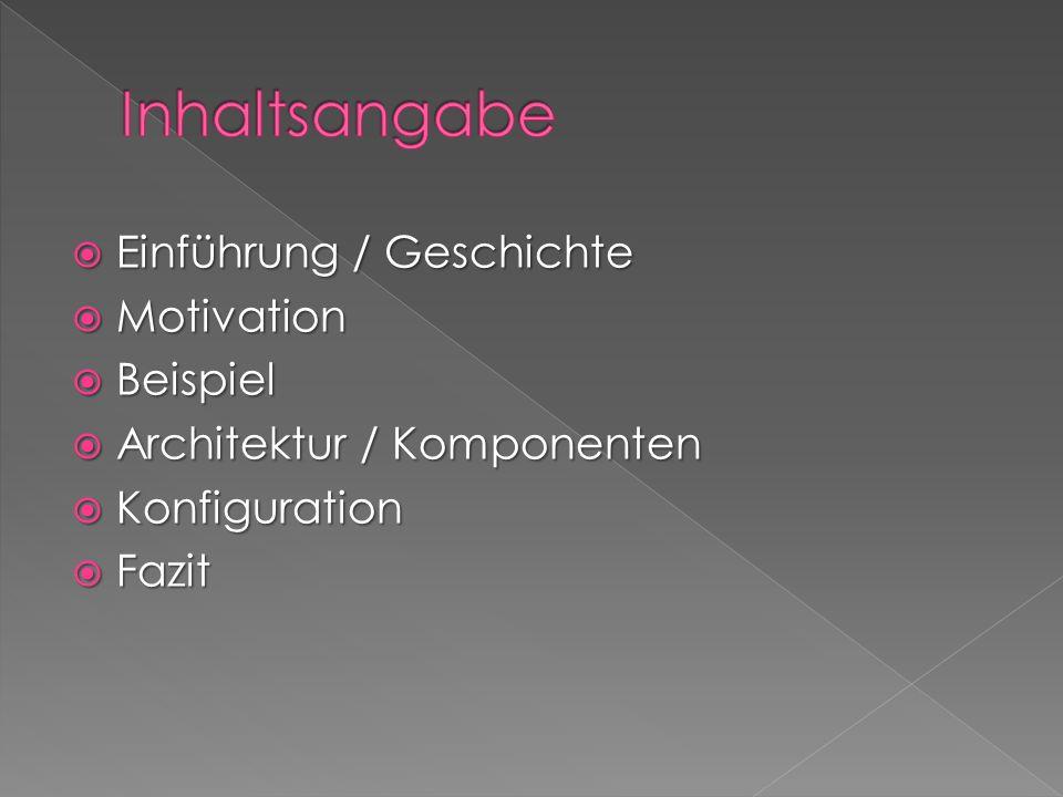 Einführung / Geschichte Einführung / Geschichte Motivation Motivation Beispiel Beispiel Architektur / Komponenten Architektur / Komponenten Konfiguration Konfiguration Fazit Fazit