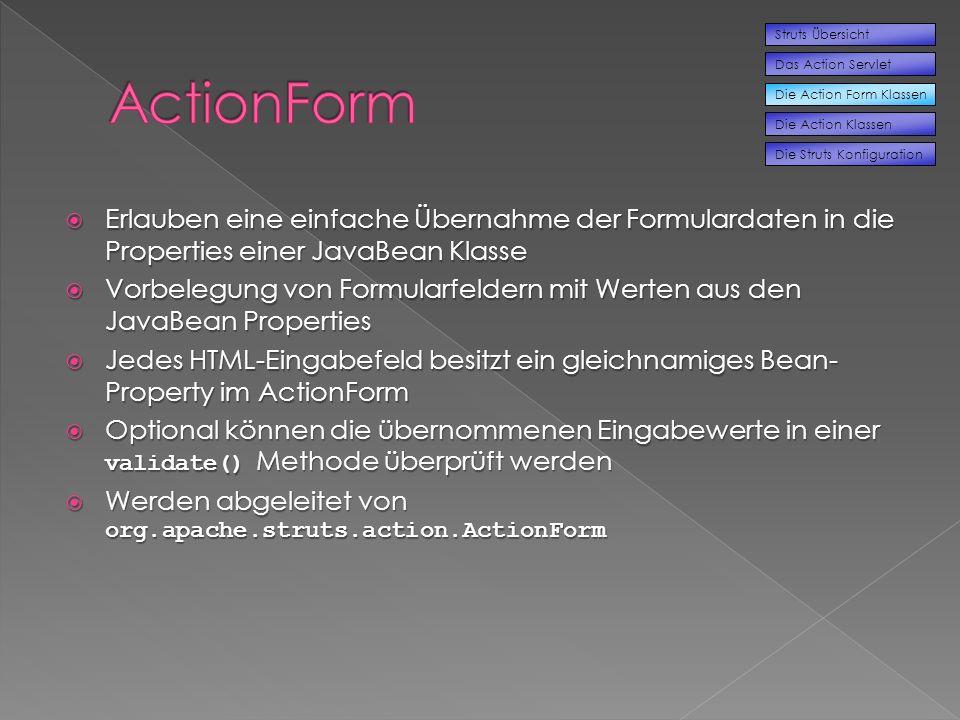 Die Action Form Klassen Struts Übersicht Das Action Servlet Die Action Klassen Die Struts Konfiguration Erlauben eine einfache Übernahme der Formulardaten in die Properties einer JavaBean Klasse Erlauben eine einfache Übernahme der Formulardaten in die Properties einer JavaBean Klasse Vorbelegung von Formularfeldern mit Werten aus den JavaBean Properties Vorbelegung von Formularfeldern mit Werten aus den JavaBean Properties Jedes HTML-Eingabefeld besitzt ein gleichnamiges Bean- Property im ActionForm Jedes HTML-Eingabefeld besitzt ein gleichnamiges Bean- Property im ActionForm Optional können die übernommenen Eingabewerte in einer validate() Methode überprüft werden Optional können die übernommenen Eingabewerte in einer validate() Methode überprüft werden Werden abgeleitet von org.apache.struts.action.ActionForm Werden abgeleitet von org.apache.struts.action.ActionForm
